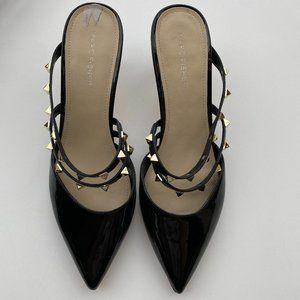 Marc Fisher Patent Slip On Studded Pointy Heel EUC